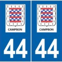 44 Campbon autocollant plaque immatriculation ville sticker