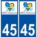 45 Loiret sticker plaque immatriculation Centre Val de Loire sticker new logo