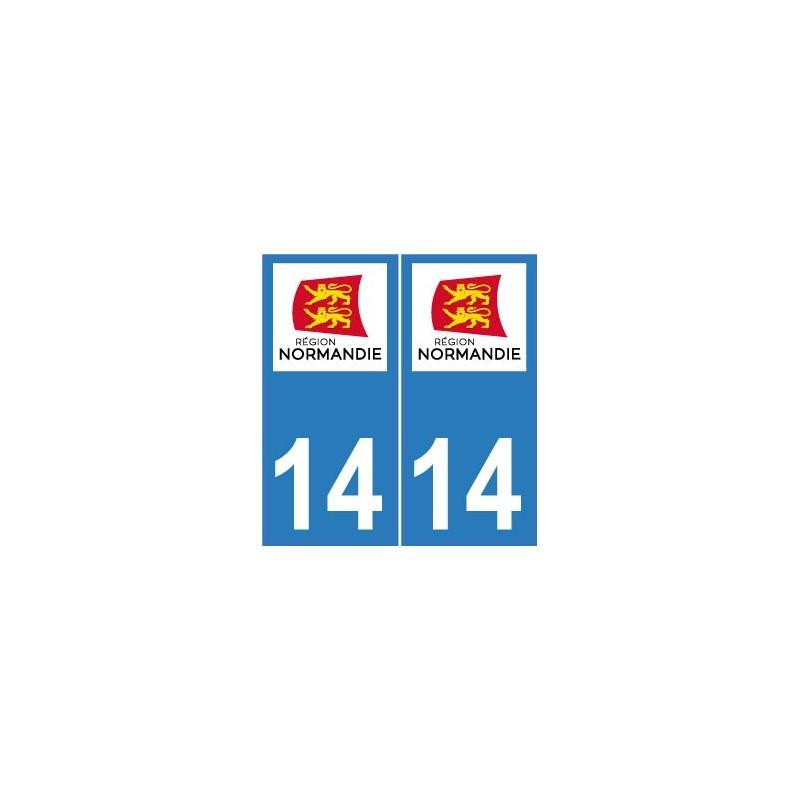 14 calvados autocollant plaque immatriculation d partement normandie sticker nouveau logo. Black Bedroom Furniture Sets. Home Design Ideas
