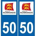 50 manche autocollant plaque sticker Normandie immatriculation nouveau logo