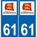61 Orne autocollant plaque Normandie sticker immatriculation nouveau logo