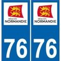 76 Seine Maritime autocollant plaque immatriculation Normandie nouveau logo sticker