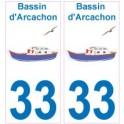 33 Bassin d'Arcachon logo bateau sticker autocollant plaque fond blanc