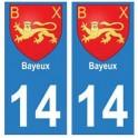 14 Bayeux ville autocollant plaque