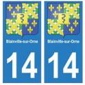 14 Blainville-sur-Orne ville autocollant plaque