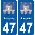 47 Barbaste blason autocollant plaque stickers ville