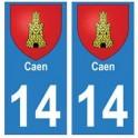 14 Caen ville autocollant plaque