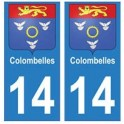 14 Colombelles ville autocollant plaque