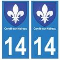 14 Condé-sur-Noireau ville autocollant plaque