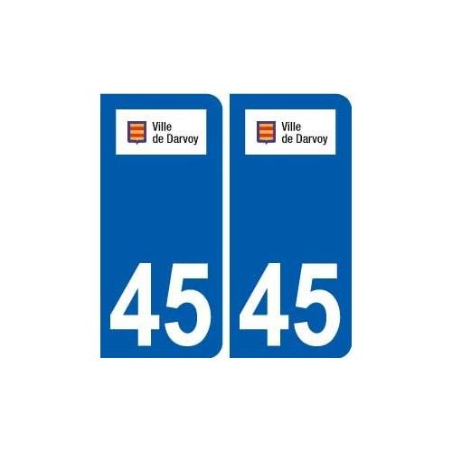 45 Darvoy logo ville autocollant plaque stickers