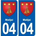04 Malijai blason ville autocollant plaque stickers