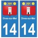 14 Dives-sur-Mer ville autocollant plaque