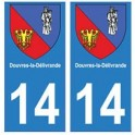 14 Douvres-la-Délivrande ville autocollant plaque
