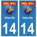 14 Giberville ville autocollant plaque
