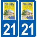 21 Neuilly-lès-Dijon logo autocollant plaque stickers ville