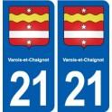 21 Varois-et-Chaignot blason autocollant plaque stickers ville