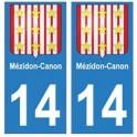 14 Mézidon-Canon ville autocollant plaque
