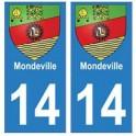 14 Mondeville ville autocollant plaque