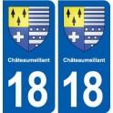 18 Châteaumeillant blason autocollant plaque ville sticker