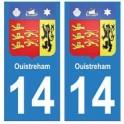 14 Ouistreham ville autocollant plaque