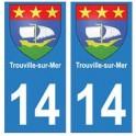 14 Trouville-sur-Mer ville autocollant plaque