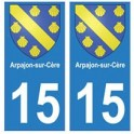 15 Arpajon-sur-Cère ville autocollant plaque