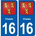 16 Chalais blason ville autocollant plaque sticker
