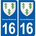 16 Cherves-Richemont blason ville autocollant plaque sticker