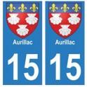 15 Aurillac ville autocollant plaque