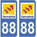 88 Vosges autocollant plaque
