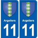 11 Argeliers coat of arms, city sticker, plate sticker