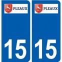 15 Pleaux logo ville autocollant plaque sticker