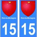 15 Riom-ès-Montagnes ville autocollant plaque