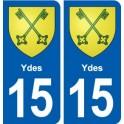 15 Ydes blason ville autocollant plaque sticker