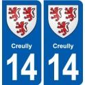 14 Creully blason ville autocollant plaque sticker