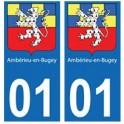 01 Ambérieu-en-Bugey ville autocollant plaque