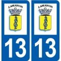 13 Lamanon logo ville autocollant plaque sticker