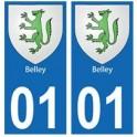 01 Belley ville autocollant plaque