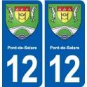 12 Pont-de-Salars coat of arms, city sticker, plate sticker