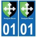 01 Bourg-en-Bresse ville autocollant plaque