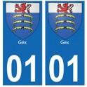 01 Gex ville autocollant plaque
