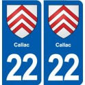 22 Callac coat of arms, city sticker, plate sticker
