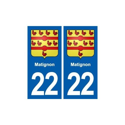 22 Matignon blason ville autocollant plaque sticker