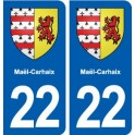 22 Maël-Carhaix blason ville autocollant plaque sticker