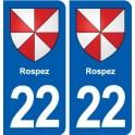 22 Rospez blason ville autocollant plaque sticker