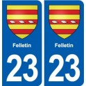 23 Felletin blason ville autocollant plaque sticker