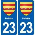 23 Felletin blason ville autocollant plaque sticker