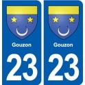 23 Gouzon blason ville autocollant plaque sticker