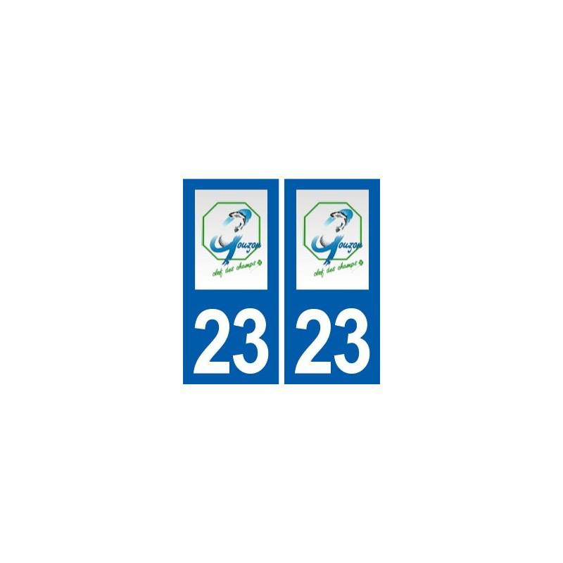 23 gouzon logo ville autocollant plaque immatriculation d partement. Black Bedroom Furniture Sets. Home Design Ideas