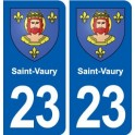 23 Saint-Vaury blason ville autocollant plaque sticker